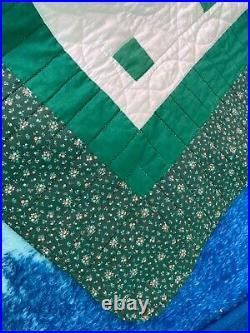 Quilt handmade greens / white 98 x 91 very nice 1989