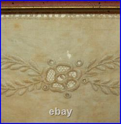 Rare Antique Vtg 19th C Dated 1824 Whitework Sampler With Red Alphabet Very Nice