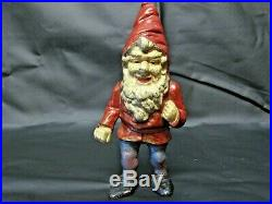 Reduced $100-Antique Cast Iron Garden Gnome Doorstop with very nice patina