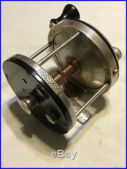 Scarce Meisselbach Free Spool Surf Reel With Leather Case Very Nice Lot P-6