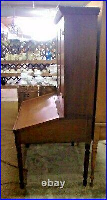 Schoolmaster's Early Walnut Lift Front Desk Hutch Very Nice! 2 Piece