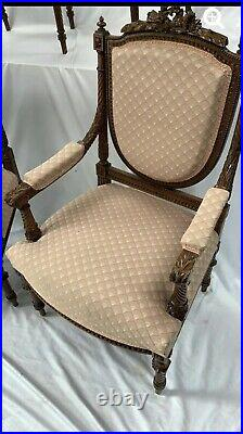 Set Of 4 Louis XVI Style Highly Carved Dark Wood Dining Chairs VERY nice
