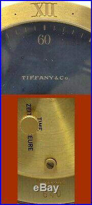 TIFFANY & Co. HEAVY BRASS DESK CLOCK #640 WITH MOON PHASE VERY NICE AND WORKING