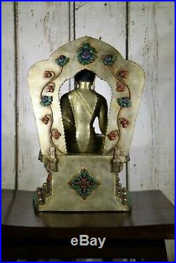 Tibetan Quartz Buddha Asian Statue Seated On A Stand Very Nice Details