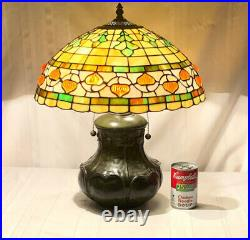 Tiffany, Grueby Inspired Oak Leaves And Acorn Leaded Glass Table Lamp, Very Nice
