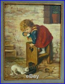 Top 19th Century Oil Panel Painting Child Afraid Of Cat Very Nice Lovely Antique