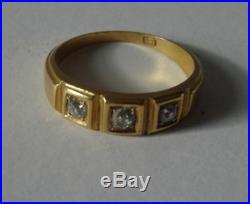 VERY NICE ANTIQUE VICTORIAN 18CT SOLID GOLD DIAMOND 3 THREE STONE RING 4.2g