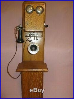 VERY NICE ANTIQUE WESTERN ELECTRIC OAK TYPE 240 TWO BOX WALL TELEPHONE, phone