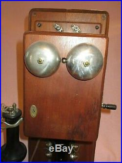 VERY NICE ANTIQUE WESTERN ELECTRIC WALNUT TYPE 21 TWO BOX WALL TELEPHONE phone