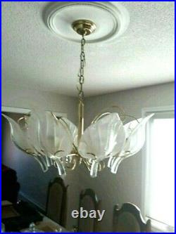 VERY NICE! Italian Murano MCM Floral/Leaf Chandelier By Franco Luce 1970s