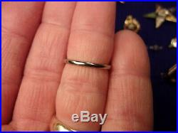 VERY NICE OLD VTG ANTIQUE 18K WHITE GOLD WEDDING BAND, US SIZE 6.5 x 2mm WIDE