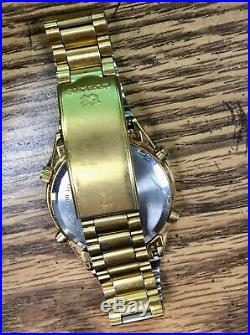 VERY NICE Vintage 1987 Seiko 7A28-7029 Gold Plated Chronograph Men's Watch