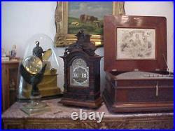 VERY RARE 1900's LENZKIRCH 8 DAY DIGITAL FLIP CARVED WALNUT BRACKET CLOCK