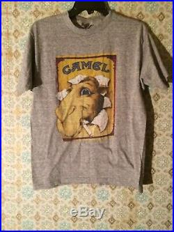 VINTAGE HEATHER GRAY JOE CAMEL T-SHIRT SNEAKERS Size Large Very Nice