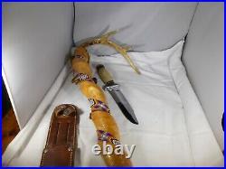 VINTAGE LARGE VERY NICE KA-BAR FIXED BLADE HUNTING/FIGHTING KNIFE WithSHEATH GOOD