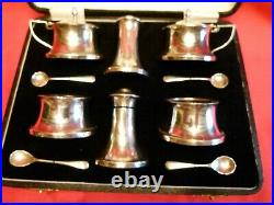 Very Nice 1933 Cased 10 Pce Solid Silver Cruet Set By Joseph Gloster, Birmingham