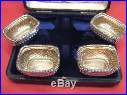 Very Nice 1939 Cased Set Of 4 Solid Silver Salts By Horace Woodward, Birmingham