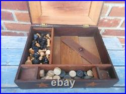 Very Nice 19th Century Inlaid Game Box, Dovetailed, Checkers & Chess Pieces