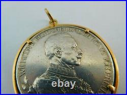 Very Nice Antique 18 Carat Gold Mounted German Coin Medal