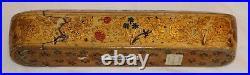 Very Nice Antique 19th Century Kashmir Polychrome Painted Pen Box