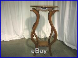 Very Nice Antique Dark Oak Round Lamp Table W Tulip Shaped Legs Beautiful