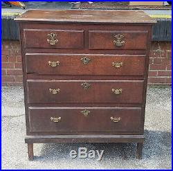 Very Nice Antique English Welsh 2 over 3 Oak Chest Of Drawers c1790