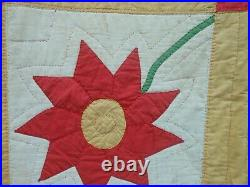 Very Nice Antique Floral Applique Quilt, Hand Stitched