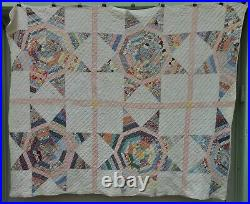 Very Nice Antique Flour Sack Star Quilt, Hand Stitched