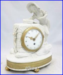 Very Nice Antique French 8 Day White Bisque Porcelain Mantle Clock