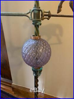 Very Nice Antique Lightning Rod Stand withArrow, Quilted Ball & Twisted Copper Rod