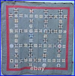 Very Nice Antique Mennonite Calico Pieced Patchwork Quilt, All Hand Stitched
