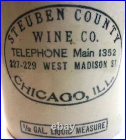 Very Nice Antique STEUBEN COUNTY WINE CO. Chicago ILL ½ Gallon Stoneware Jug