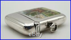 Very Nice Antique Sterling Silver & Enamel Vesta Case Hunt Scene Birmingham 1897
