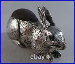 Very Nice Antique Sterling Silver Rabbit Pin Cushion Birmingham 1909