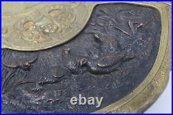 Very Nice Antique Victorian Bronzed Spelter Embossed Game Charger Serving Plate