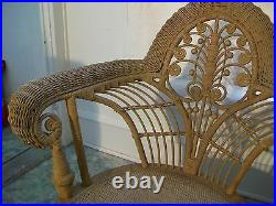 Very Nice Antique Wicker Chair With Ornate Intricate Designs