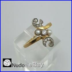Very Nice Art Nouveau Antique Ring Genuine Natural Diamonds 18ct And Handmade