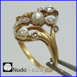 Very Nice Art Nouveau Antique Ring Genuine Rose Cut Diamonds 18ct And Pearl
