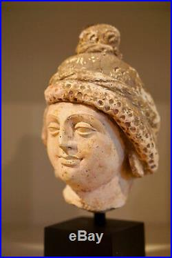 Very Nice Authentic 4-5th Century A. D. Gandhara Stucco Bodhisattava Buddha Head