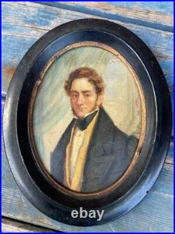 Very Nice Early 19th Cen. Oil on Board Portrait Miniature Of A Gent