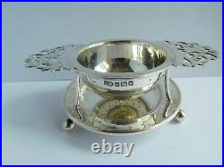 Very Nice Edwardian English Sterling Silver Tea Strainer & Stand