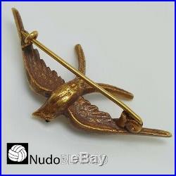 Very Nice Genuine Antique Swallow Broch Rose Cut Diamonds 18k Victorian Pin