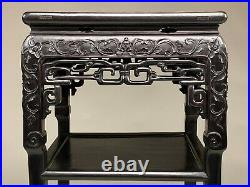 Very Nice Good Quality Chinese Carved Teakwood Marble Top Plant Stand