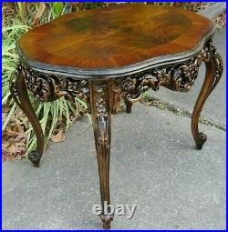Very Nice Heavily Carved Antique French Side Table