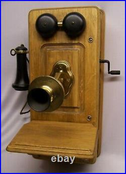 Very Nice KELLOG Antique Wall Mount Oak Telephone