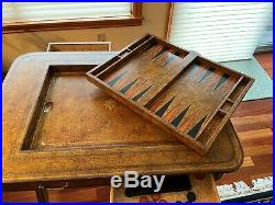 Very Nice Maitland Smith Tooled Leather Backgammon Chess Checkers Games Table