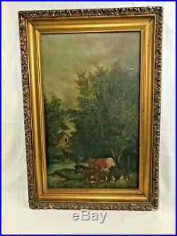 Very Nice Orig. Antique 19thC Naive Maine Farm House Cows Oil Painting
