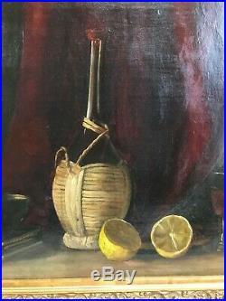 Very Nice Orig. Antique 19thC Naive Still Life Oil Painting Wine Bottle Lemon ME