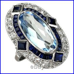 Very Nice Oval Ring With Natural Aquamarine Sapphires And Diamonds Platinum Hand