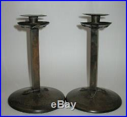 Very Nice Pair Antique Handel 5077 Arts & Crafts Hammered Copper Candle Sticks